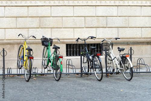 Bicycles on a bike rack