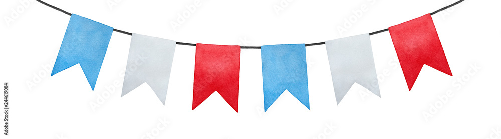 Fototapety, obrazy: Joyful and positive pennant bunting banner flags illustration. Rectangular shape; sky blue, pure white, bright red colors. Handmade watercolour painting, cut out clip art element for design and decor.