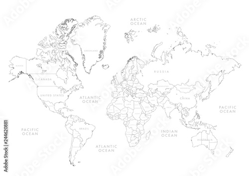 Fototapeta Highly detailed world map with labeling