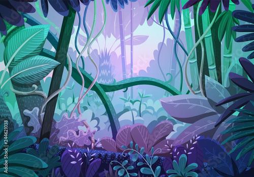 wektorowa-ilustracja-tropikalny-dzungli-tlo-krajobraz-z-purpurowymi-i-rozowymi-kolorami-przy-wschodem-slonca-las-deszczowy-z-gesta