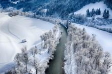 Enns River In Ennstal, Styria, Austria During Winter