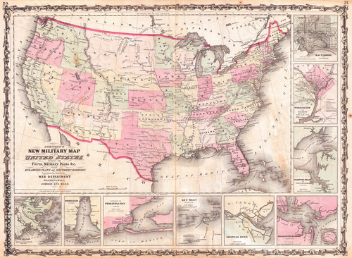 Billede på lærred 1862, Johnson Military Map of the United States, Civil War