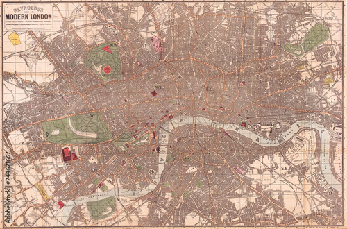 Carta da parati  1862, Reynolds Pocket Map of London, England