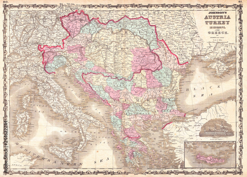 Fotografie, Tablou 1863, Johnson Map of Austria, Hungary, Turkey, Italy and Greece