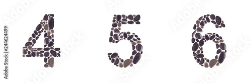 Fotografía  4, 5 and 6 Numbers made of beach stones isolated on white background