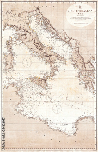 1868 British Admiralty Chart Or Map Of The Mediterranean Sea Italy