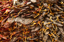 Wall Of Dried Chilis In Mexico City Market