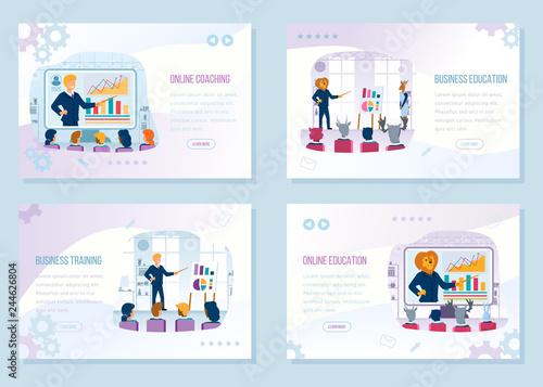 Fototapety, obrazy: Business Education Courses Vector Web Banners Set