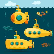 Yellow Submarine Undersea With...