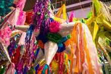Piñatas Hanging  At Market In Mexico City