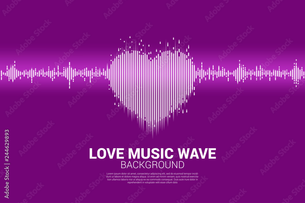 Fototapeta Sound wave heart icon Music Equalizer background. love song music visual signal