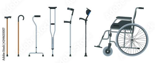 Vászonkép Set of mobility aids including a wheelchair, walker, crutches, quad cane, and forearm crutches