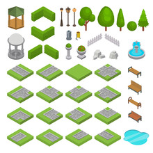 Park Vector Isometric Parkland With Green Garden Trees Grass And Bench Fountain Pond In City Illustration Set Of Parkway In Cityscape Or Landscape Isolated On White Background
