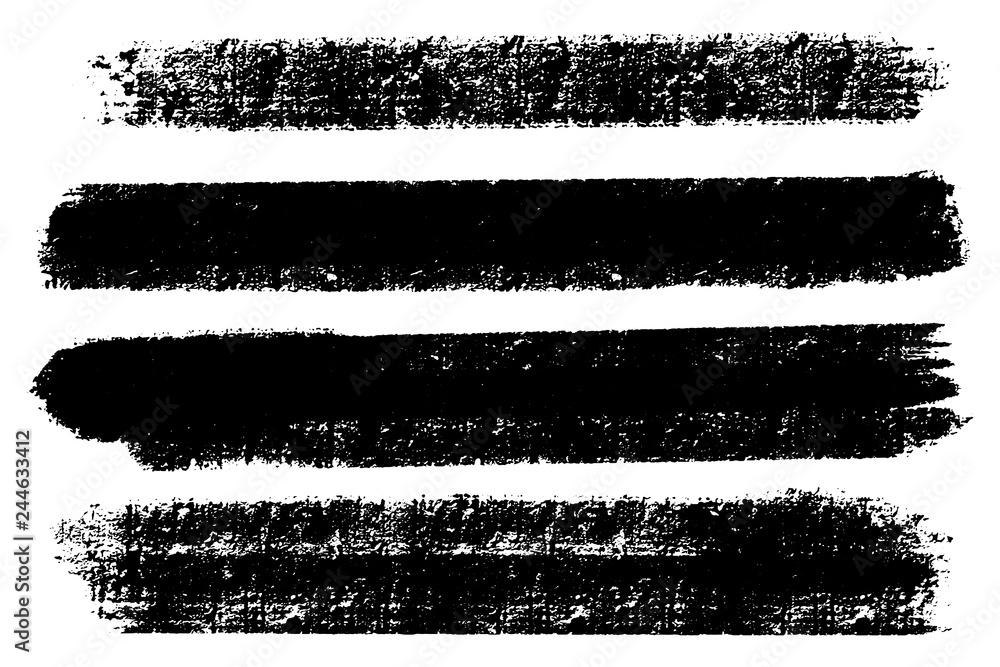 Fototapety, obrazy: Vector set of hand drawn brush strokes, stains for backdrops. Monochrome design elements set. Black color artistic hand drawn backgrounds rectangular shape.