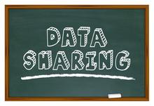 Data Sharing Information Network Chalkboard Words 3d Illustration