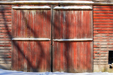 Red Painted Barn Doors.