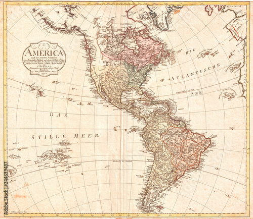 Recess Fitting World Map 1796, Mannert Map of North America and South America