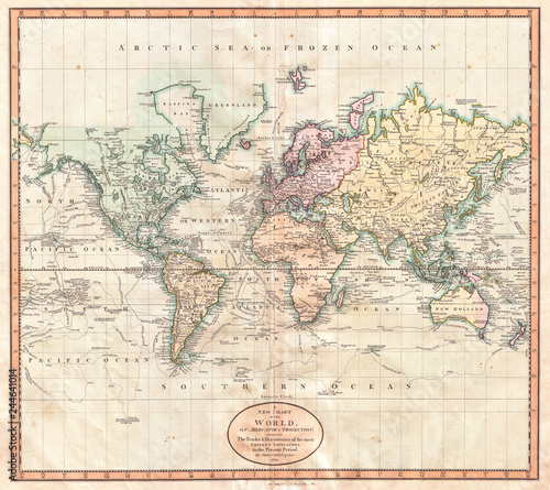 Staande foto Noord Europa 1801, Cary Map of the World on Mercator Projection, John Cary, 1754 – 1835, English cartographer