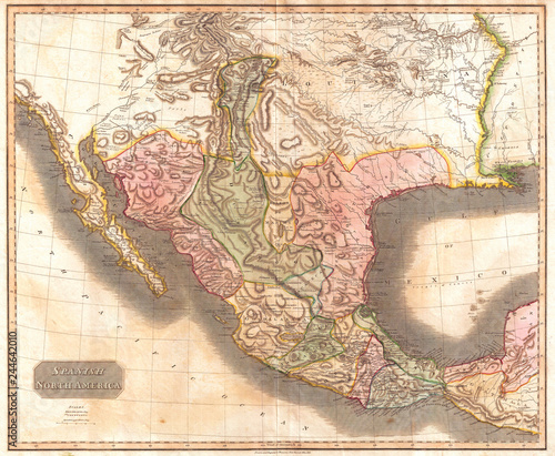 Map Of Texas 1840.1814 Thomson Map Of Mexico And Texas John Thomson 1777 1840