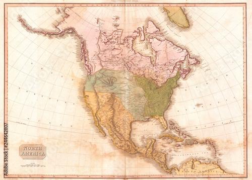 Recess Fitting World Map 1818, Pinkerton Map of North America, John Pinkerton, 1758 – 1826, Scottish antiquarian, cartographer, UK