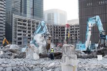 Building Demolition Site In Tokyo, Japan 東京のビル解体工事現場