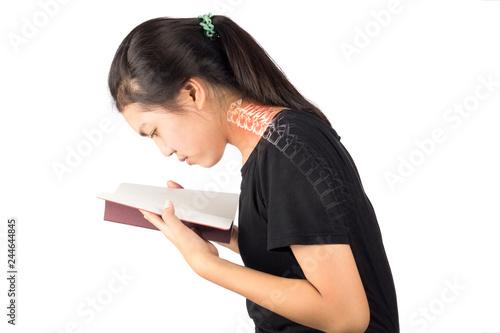 Fotografia, Obraz  woman read a book feel strain . neck bones pain