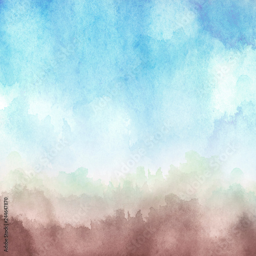 Watercolor abstract spot, blot. Colorful vintage background, reminiscent of a forest landscape. blue, pink, brown. #244647870