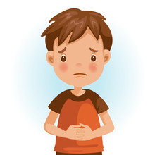 Sad Boy Sad Little Boy. The Face Expresses Regret. Child Lament Standing. Looking Straight At You. Vector Cartoons And Illustrations Isolated.
