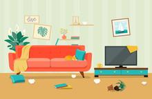 Messy Living Room Interior. Fu...