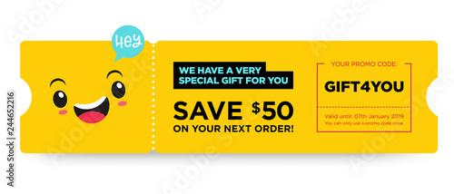 Fotografía  Vector Gift Voucher with Coupon Code