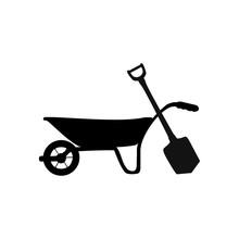 Wheelbarrow Icon. Vector Illustration