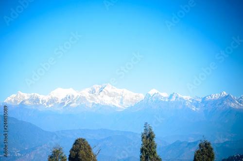 Beautiful view of Kanchenjunga mountain range and daylight