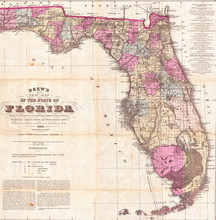 1884, Drew Pocket Map Of Florida