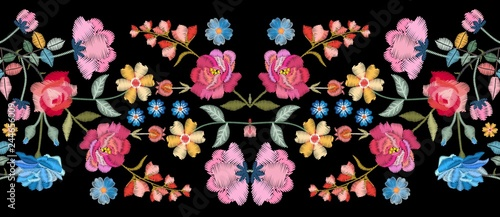 Fototapeta Colorful seamless embroidery border with beautiful flowers