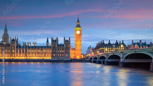 Garden Poster London Big Ben and Houses of parliament at twilight