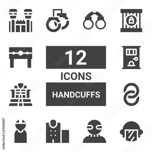 handcuffs icon set Canvas Print