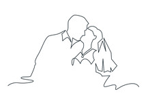 Just Married Couple Continuous One Line Vector Drawing