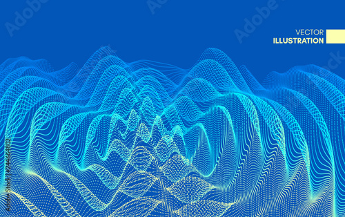 Fototapeta 3D wavy background with ripple effect
