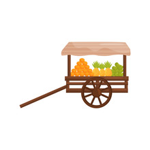 Old Wooden Street Cart With Fresh Tropical Fruits. Balinese Food. Market Stall On Wheels. Flat Vector Design