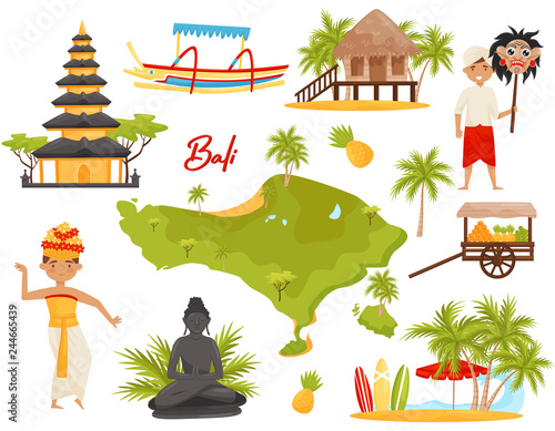 Flat Vector Set Of Balinese Landmarks And Cultural Objects People