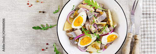 Traditional  salad of salted herring fillet, fresh apples,  red onion  and eggs. Kosher food. Scandinavian cuisine. Top view. Flat lay. Banner.