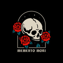SKULL WITH ROSES MEMENTO MORI COLOR BLACK BACKGROUND