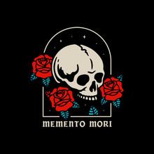 SKULL WITH ROSES MEMENTO MORI ...