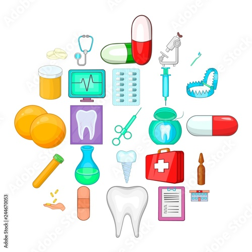 Fotografie, Obraz  Oral cavity icons set