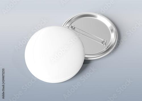 Poster Macarons Badge on blue grey background 3D rendering