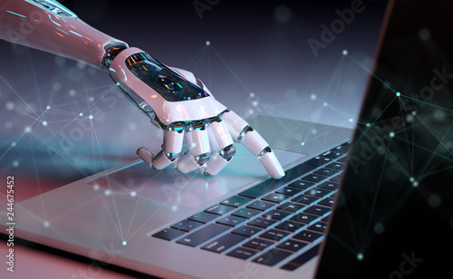 Robotic hand pressing a keyboard on a laptop 3D rendering Fototapete