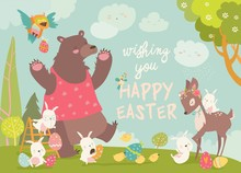 Cute Bear,happy Rabbits And Little Deer Celebrating Easter