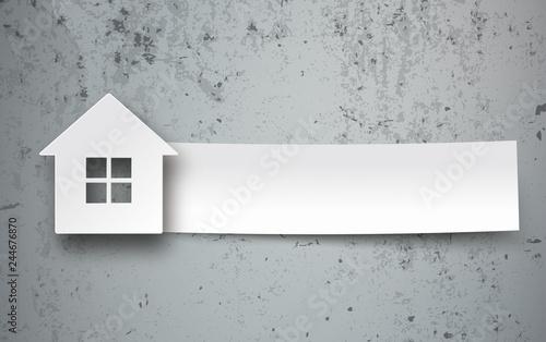 Photo House Paper Banner Concrete