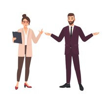 Angry Female Boss And Male Employee Making Excuses Isolated On White Background. Furious Chief Or Director Criticizing Office Worker. Conflict At Work. Flat Cartoon Colorful Vector Illustration.