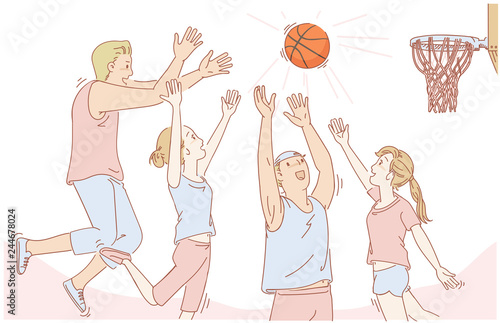 drawing game with friends Basketball Friends Playing Basketball Jumping Smiling